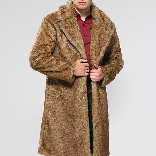 Street Imitation Mink Hair Long Men's Trench Coat