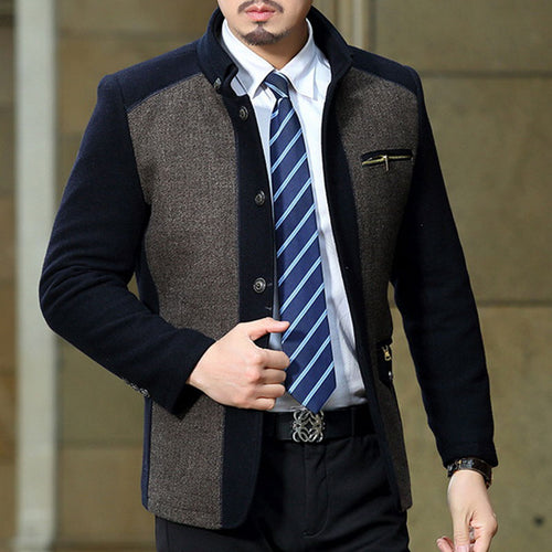 Stand Collar Hit Color Zippered Wool Blends Men's Jackets Coat