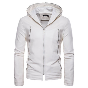 Zippered Hooded Slim Casual Solid Color Men's Leather Coat