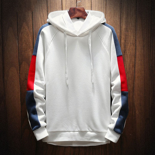 Pullover Hooded Hit Color Polyester Men's Hoodies