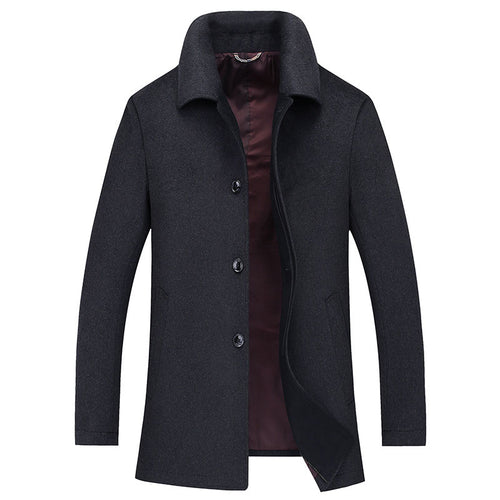 Wool Blends Plain Casual Lapel Men's Trench Coat