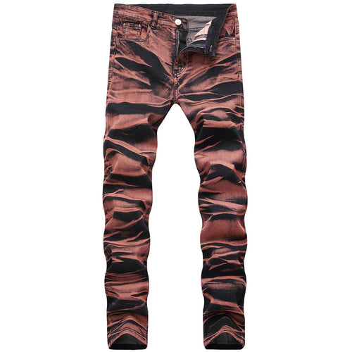 Elastic Cylinder Elastic Cotton Hit Color Men's Jeans