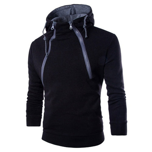 Contrasting Color Diagonal Zipped Hooded Sport Men's Hoodie