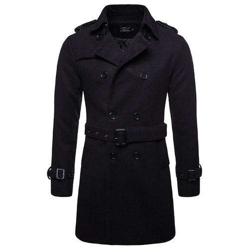 Button Plain Lapel Polyester Casual Men's Trench Coat