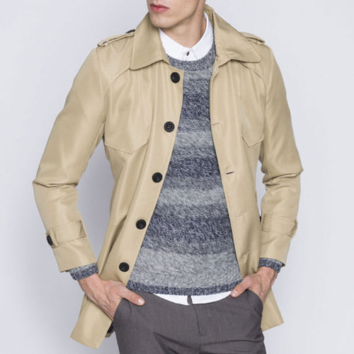 Single-Breasted Long Sleeve Solid Color Men's Trench Coat