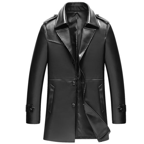 Pure Color Lapel Single Breasted Men's Leather Coat