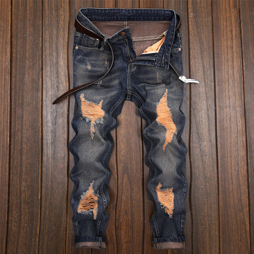 Hole-breaking, Self-cultivation And Leisure Men's Jeans