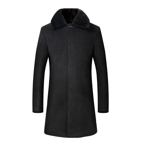 Lapel Plain Polyester Pocket Button Men's Trench Coat