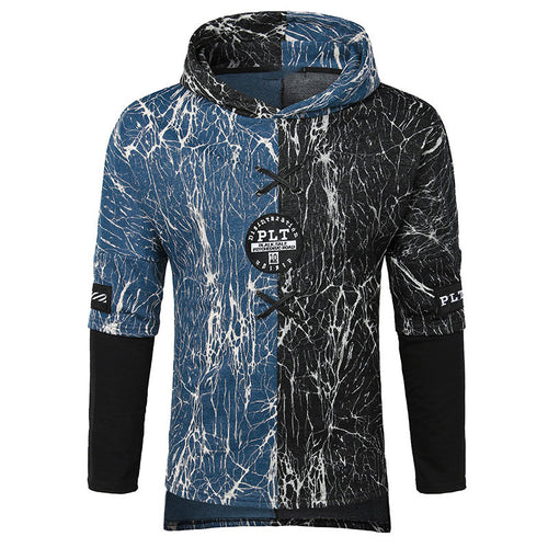 Hit Color Patchwork Cotton Printing Men's Hoodies