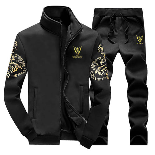 Retro National Wind Zipper Soft Men's Tracksuit
