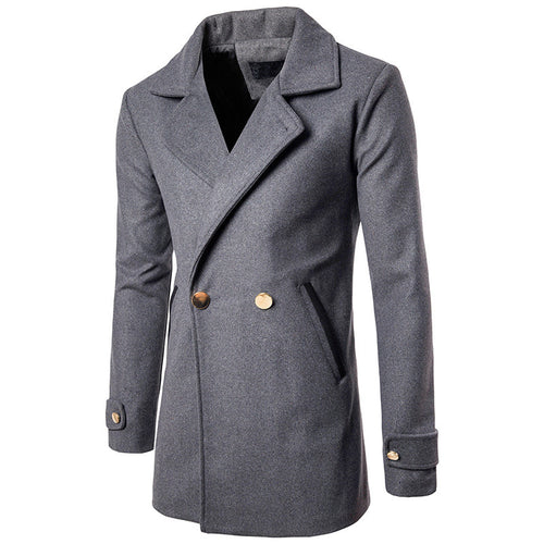 Double-Breasted Cotton Slim Men's Trench Coat