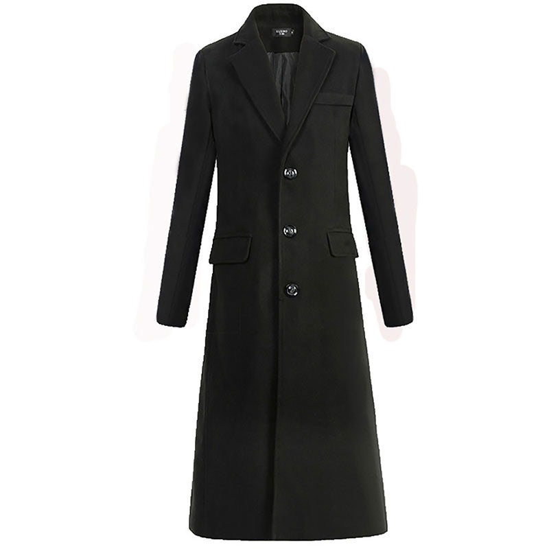 Notched Neck Single-Breasted Men's Trench Coat