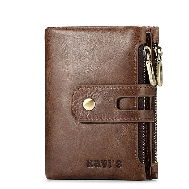 Leather Double Zippered High Capacity Men's Wallets