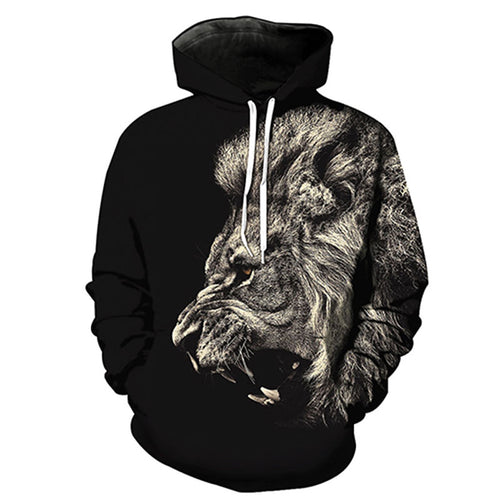Polyester Animal Print Long Sleeve Pullover Men's Hoodies
