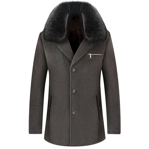 Wool Blends Button Single-Breasted Detachable Men's Trench Coat