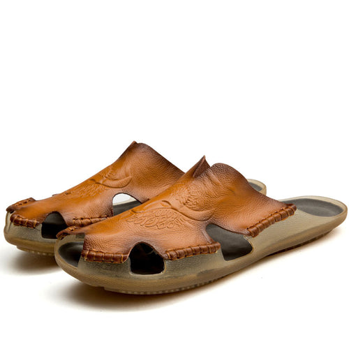 Wear Resistant Sewing Of Rubber Bottom Men's  Slippers
