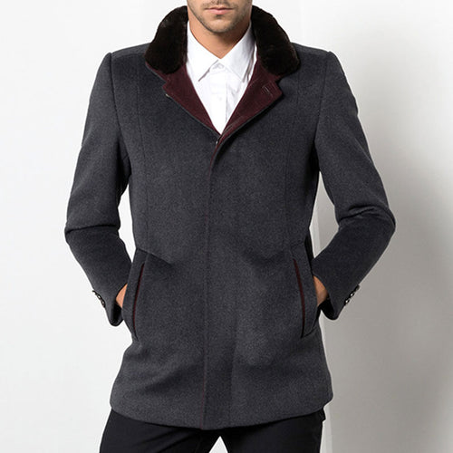 Stand Collar Plain Casual Polyester Men's Trench Coat