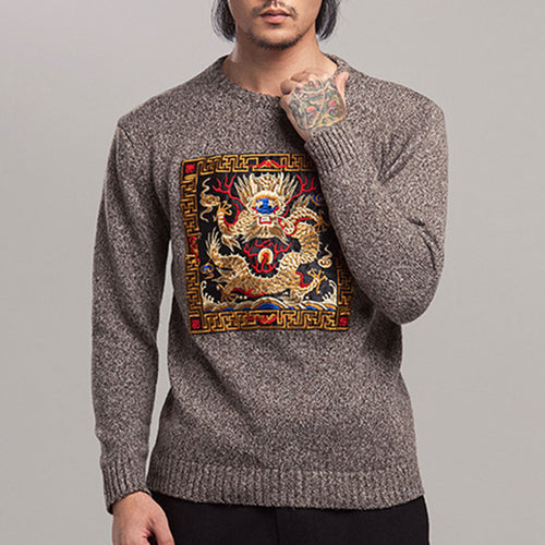 Loose Pullover Embroidery Brief  Men's Sweater