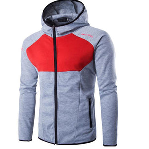 Hit Color Windproof Zippered Comfortable Men's Hoodie