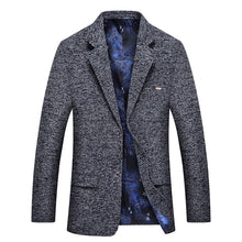 Casual Slim Single-Breasted Grid Chemical Fiber Men's Jackets Coat