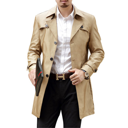 Single Row Buckle Solid Color Men's Trench Coat