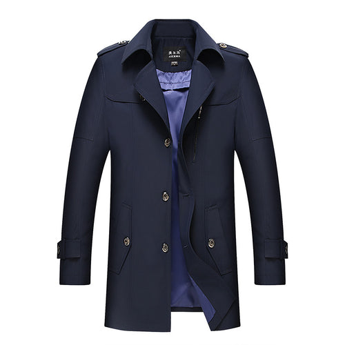 Regular Plain European Vintage Men's Trench Coat