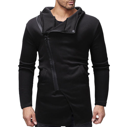 Asymmetric Zippered Cotton Slim Men's Hoodies