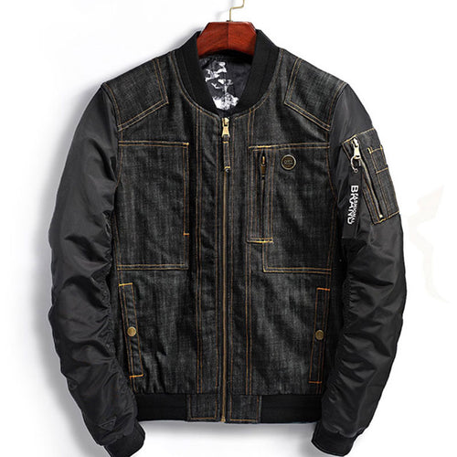 Stand Collar Zipper Pocket Denim Men's Jackets Coat