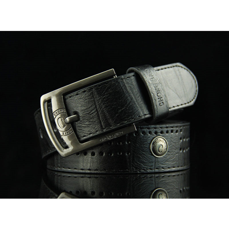 Buckle Rivet Leather Men's Belts