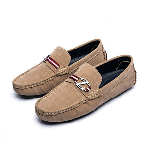 Frosted Metal Buckle Men's Casual Shoes