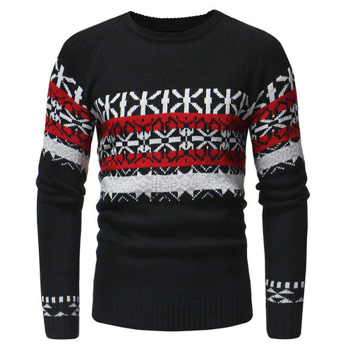 Hit Color Printed Round Neck Men's Sweater
