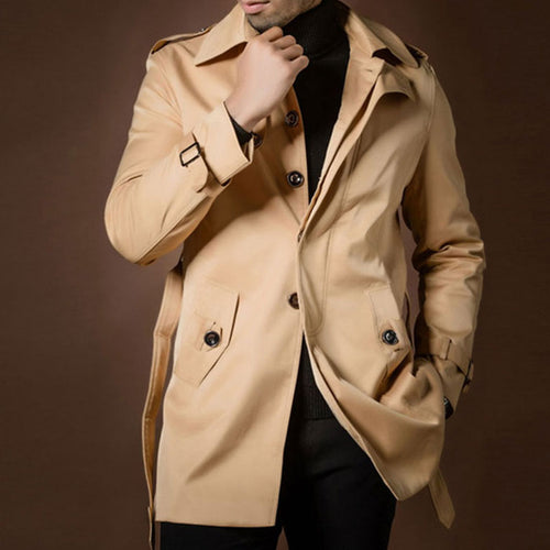 Plus Size Plain Belt Polyester Men's Trench Coat