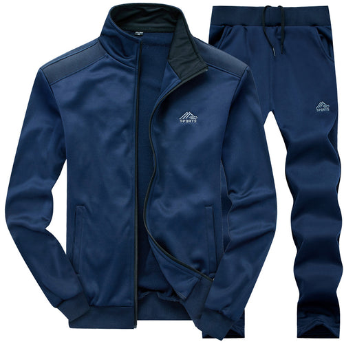 Solid Colour Pattern Lapel Outdoor Men's Sports Suit
