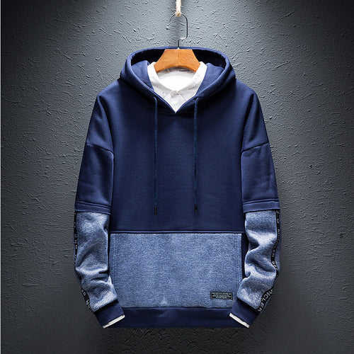 Hooded Letter Patchwork Lace Up Men's Hoodies