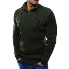 Pullover Hole Zippered Cotton Pure Color Men's Sweater