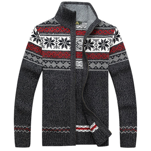 Loose Zippered Printing Stand Collar Men's Sweater