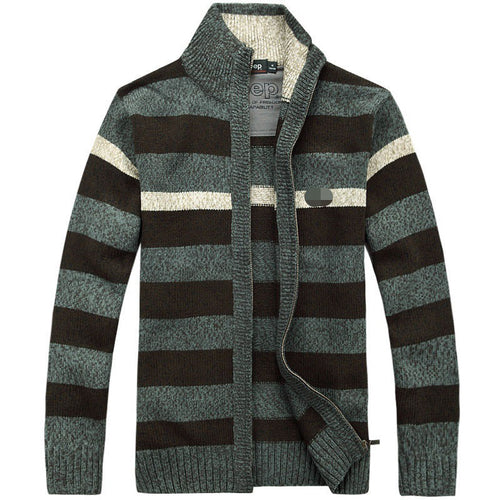Stand Collar Striped Zippered Hit Color Men's Sweaters