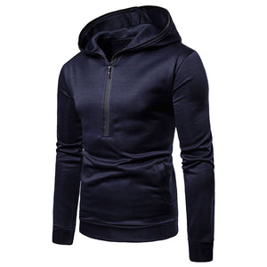 Long Sleeve Zippered Oversize Slim Solid Color Men's Hoodies