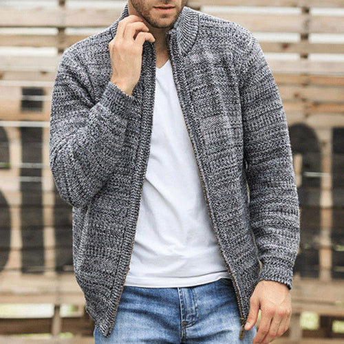 Plus Size Stand Collar Zippered Men's Sweater