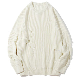 Loose Hole Acrylic Jacquard Solid Color Men's Sweater