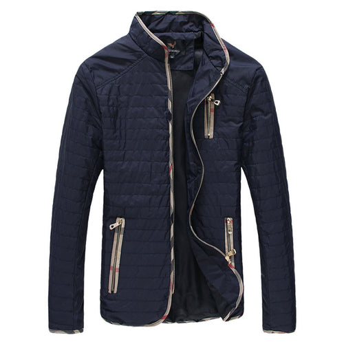 Oversize Striped Zippered Stand Collar Pocket Men's Jackets Coat