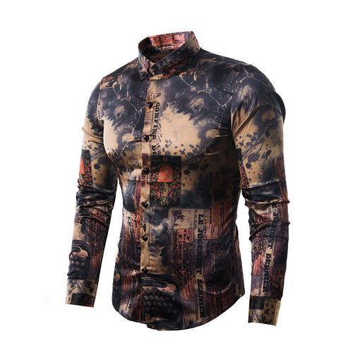 Long Sleeve Single-Breasted Stand Collar Men's Shirt