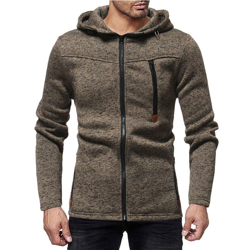 Zip-up Hooded Pure Color Long Sleeve Men's Coat