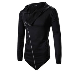 Solid Color Asymmetric Zippered Hooded Slim Men's Hoodies