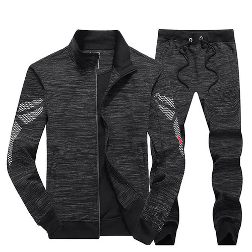 Vertical Collar Cotton Long Sleeves Men's Sports Suit