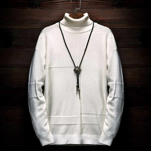 High Neck Woolen Casual Pure Color Men's Sweater