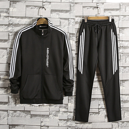 Letter Stripe Patchwork Men's Sports Suits