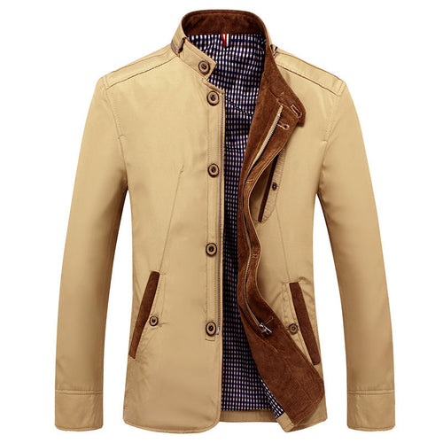 Casual Plain Stand Collar Zipper Men's Jackets Coat