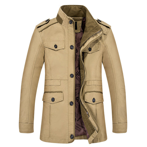 Pure Color Retro Pocket Waterproof Men's Trench Coat