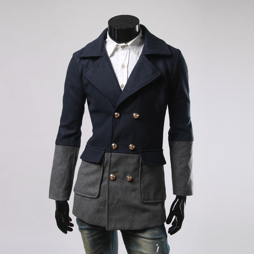 Color Block Polyester Button Lapel Men's Trench Coat